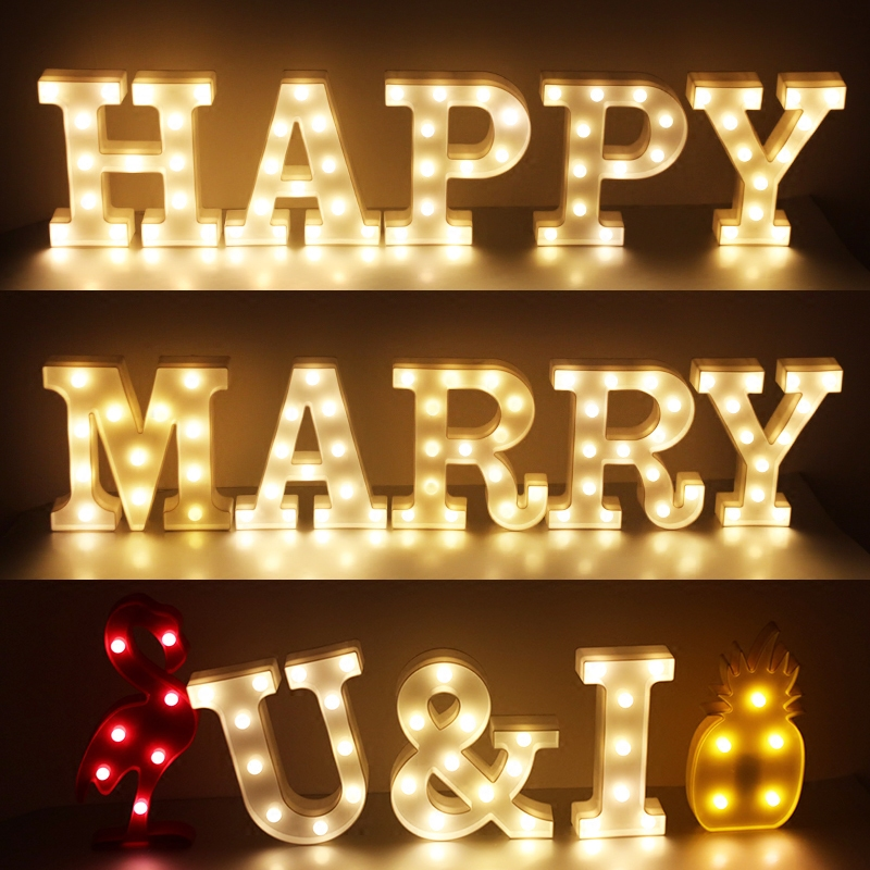 letter led white plastic alphabet lamp marquee sign battery powered night light wedding birthday party home club indoor decor