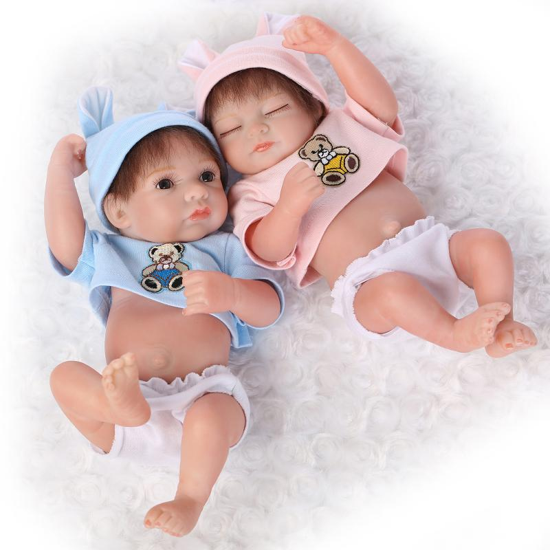 10inch Full Silicone Baby Born Two Dolls Real Look Boy and Girl Alive Twins  Washable Home Decorations Kids Toys Collects cccd29691ac86