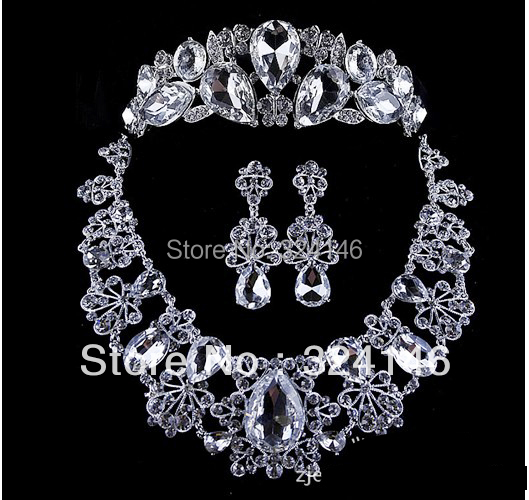 Free shipping Silver bridal jewelry set luxurious rhinestone wedding jewelry wholesale