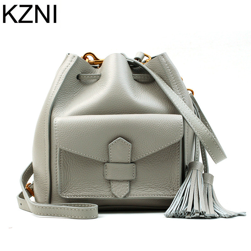 KZNI tote bag genuine leather bag crossbody bags for women shoulder strap bag  sac a main femme de marque luxe cuir 2017 L042003 exclusive limited women tote bag handbags high quality shoudler bags with hair ball ornaments sac a main femme de marque celebre