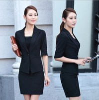2 Piece Women Summer Formal Business Suit With Skirt Female Work Outfit Black Red Ladies Half Sleeve Blazer Skirt Suit Plus Size