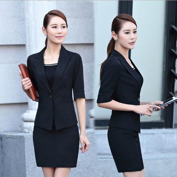 Grande Femmes Outfit Noir rouge D'été Pièce Avec Rouge Blazer Noir Dames Costume 2 Féminin Travail D'affaires Jupe Moitié Taille Manches Habillé q5TwvEdxPR