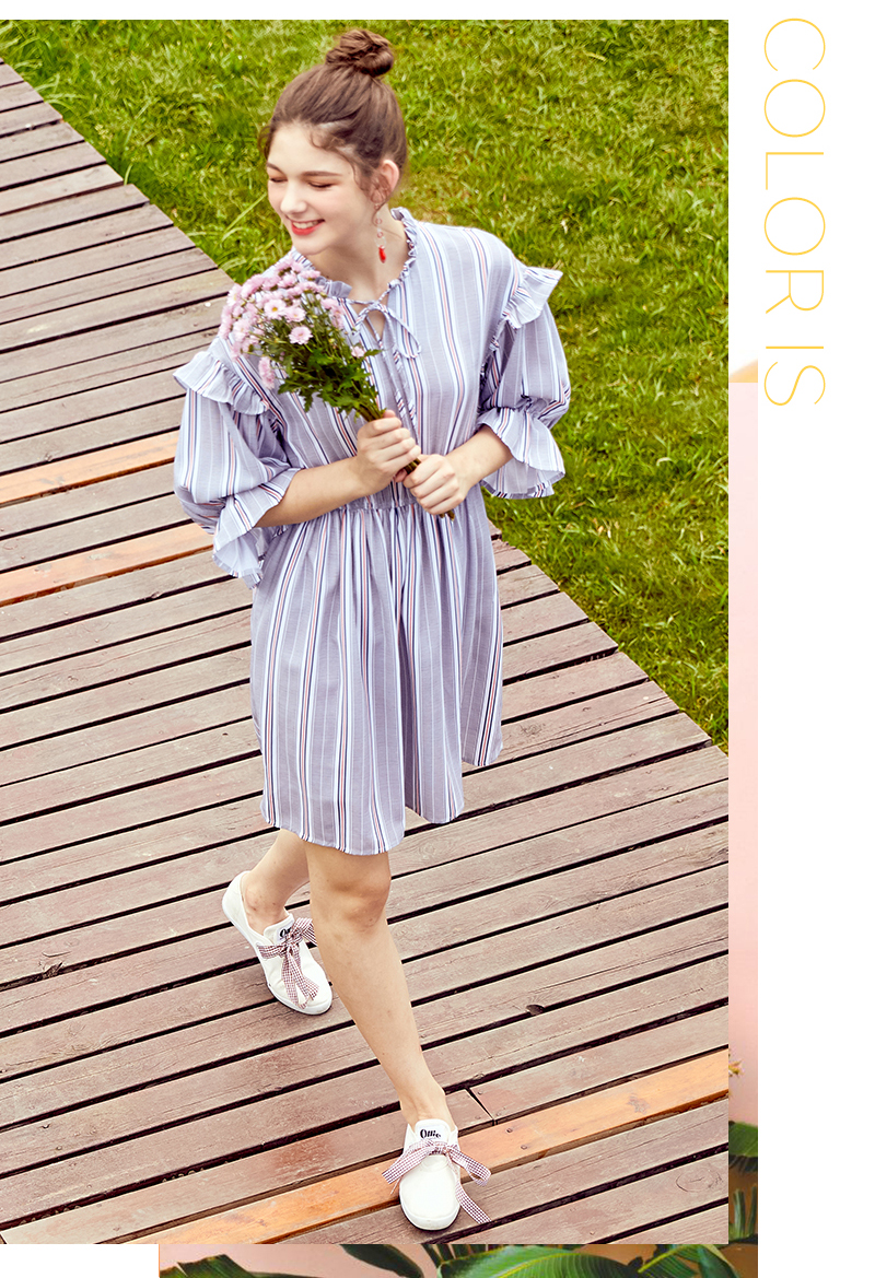 SEMIR women dress female 2018 autumn new retro striped dress loose thin dresses long flare sleeves clothing for woman 38