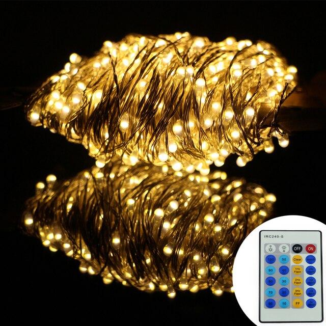 Controle remoto 164Ft 50 M 500LED Natal Levou Luzes Da Corda De Fio De Prata Estrelado Luzes Da Corda Para Decoração de Festas de Natal