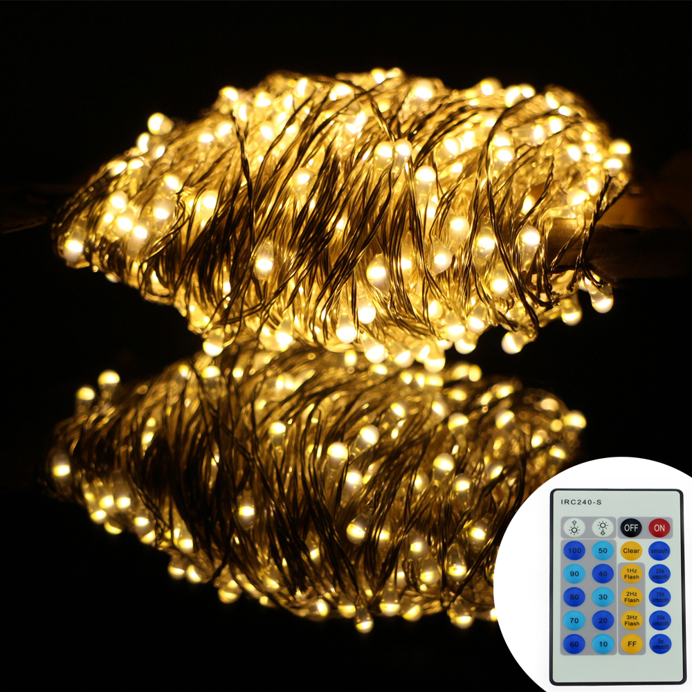 ФОТО Remote Control 164Ft 50M Christmas Led String Lights 500LED Silver Wire Starry String Lights For Christmas Parties Decoration
