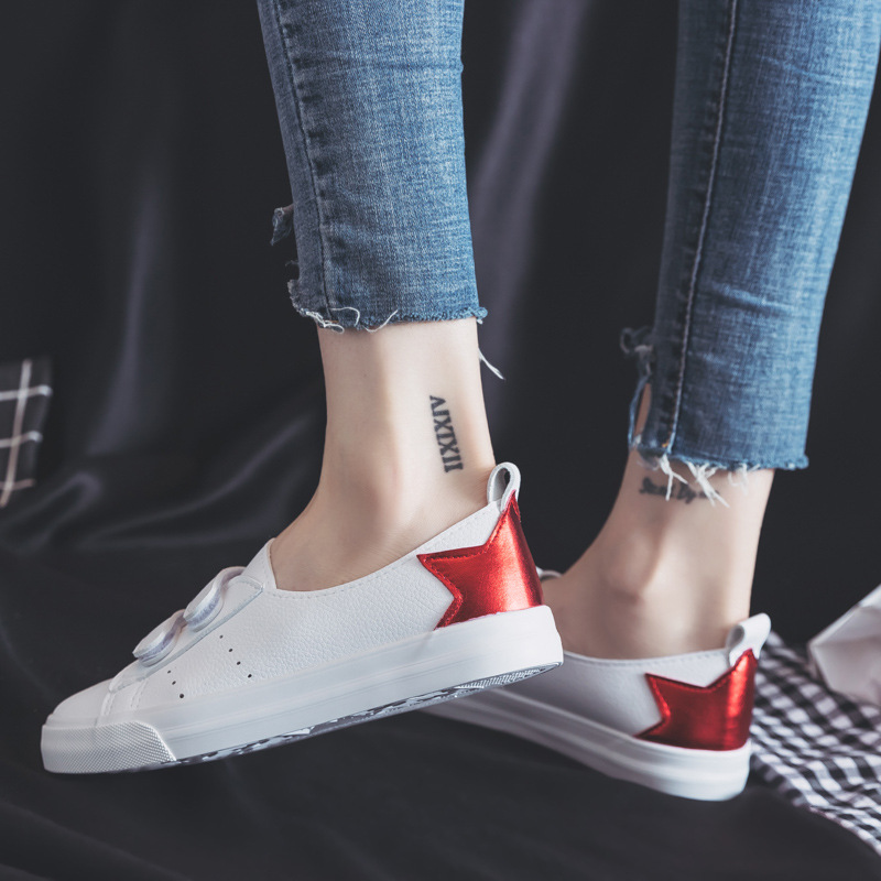 2018 summer new fashion shoes woman casual PU leather shallow simple women casual white shoes sneakers