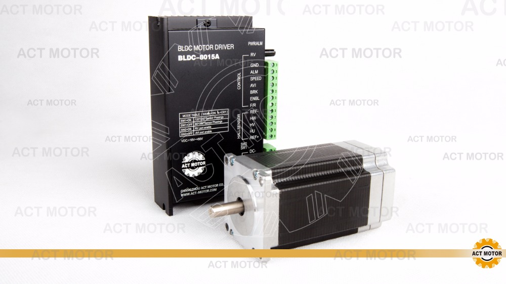 Free from Germany!ACT Motor 1PC Nema23 Brushless DC Motor 57BLF03 24V 250W 3000RPM 3Phase Single Shaft+1PC Driver BLDC-8015A 50V