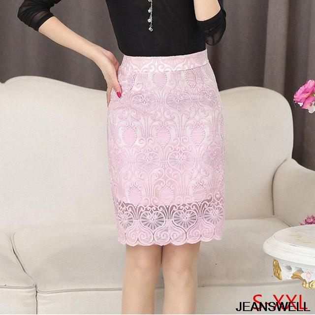 Lace Skirt 2016 Summer Fashion Elegant Sheer Slim Package Hip High Waist Pencil Skirt Black White Pink Saias Longas