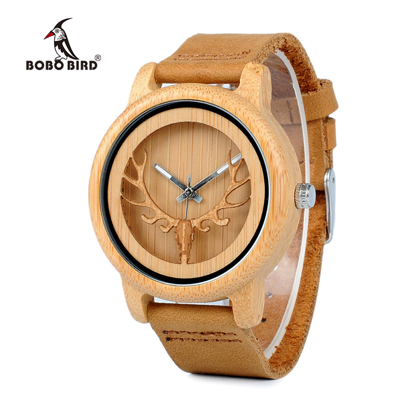 BOBO BIRD Bamboo Watch Men Wood Quartz Wristwatches With Deer Buck Head Design Real Leather Band in Box Relogio W*A27
