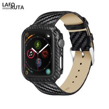 Laforuta PC Case for Apple Watch 44mm  Band Leather iWatch Series 4 Strap Bands Carbon Fiber Bupmer With Watchband 42mm