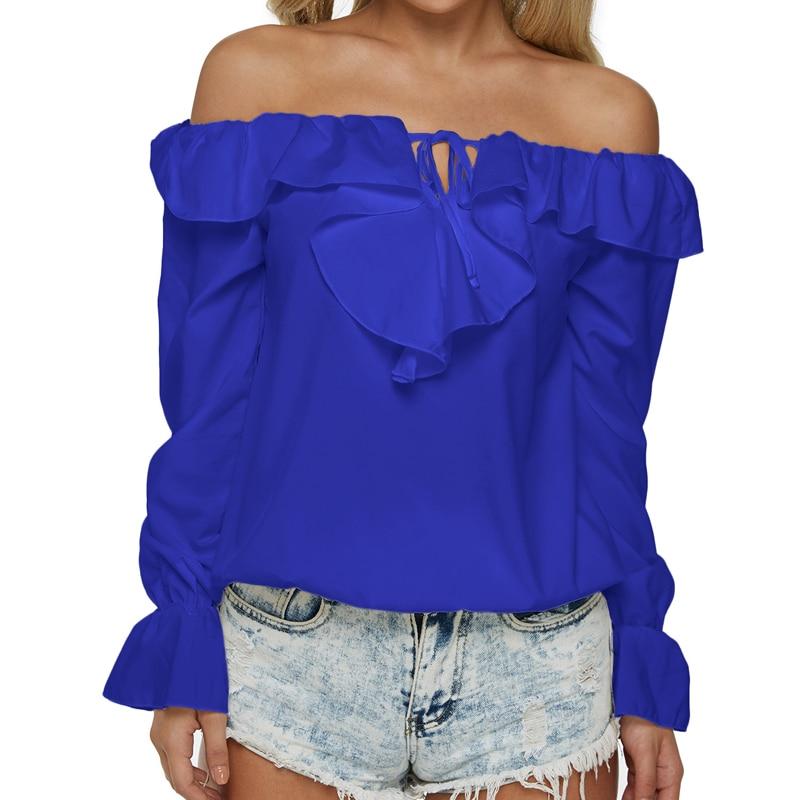 Women Off Shoulder Chiffon Blouse Sexy Lace Up Tops 2018 Long Flare Sleeve Slash Neck Ruffle Shirt Casual Loose Blusa Femininas
