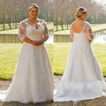 Robe De Mariage White Ivory Custom Sheer Style Sweep Train V-Neck 3/4 Sleeve Lace Plus Size Wedding Dresses Bridal Gowns W915