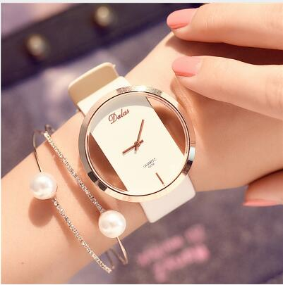 Runerr Women Bracelet Watch Leather Crystal Wrist Watch Women Dress Ladies Quartz Watches relogio feminino Dropshiping zegarki d