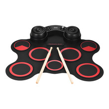 Portable USB Stereo Digital Electronic Drum Kit Set 7 Silicon Drum Pads Built-in Double Speakers Supports Recording Function(China)