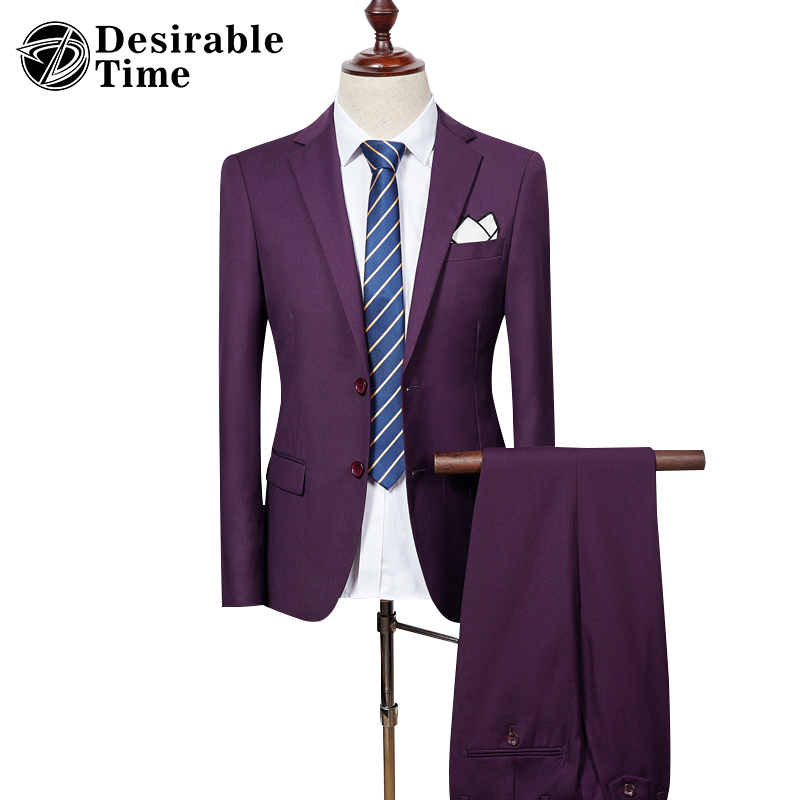 Mens Slim Fit Suits with Pants Wedding Groom Fashion Brand Two Button Business Formal Purple Suits for Men DT033