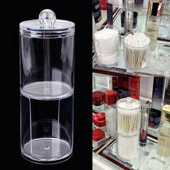 Creativo Acrilico Trasparente Titolare di Stoccaggio Vaso Trasparente Tamponi di Cotone Bastone di Trucco Cosmetico Dell'organizzatore di Caso di Trucco Batuffolo di Cotone Vaso