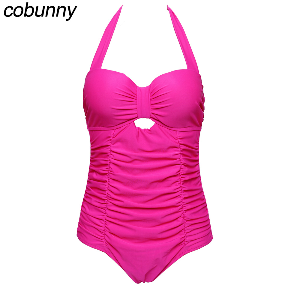 Cobunny New Design Plus Size Swimwear Large Size One Piece Swimsuit Women 2017 Vintage Retro Fold Strappy Beach Bathing Suits new design backless sexy one piece swimsuit plus size swimwear female vintage bathing suits for summer beach