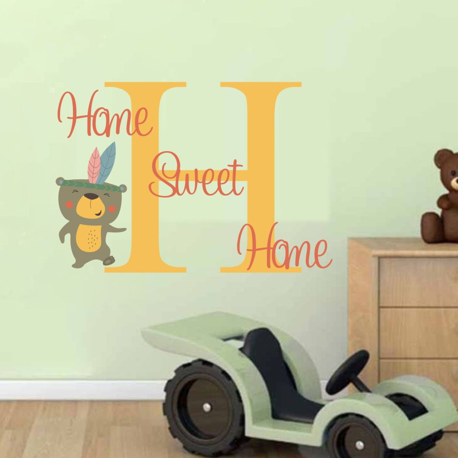 Cartoon Animals Bear Letter H Color Wall Stickers For Kids Room ...