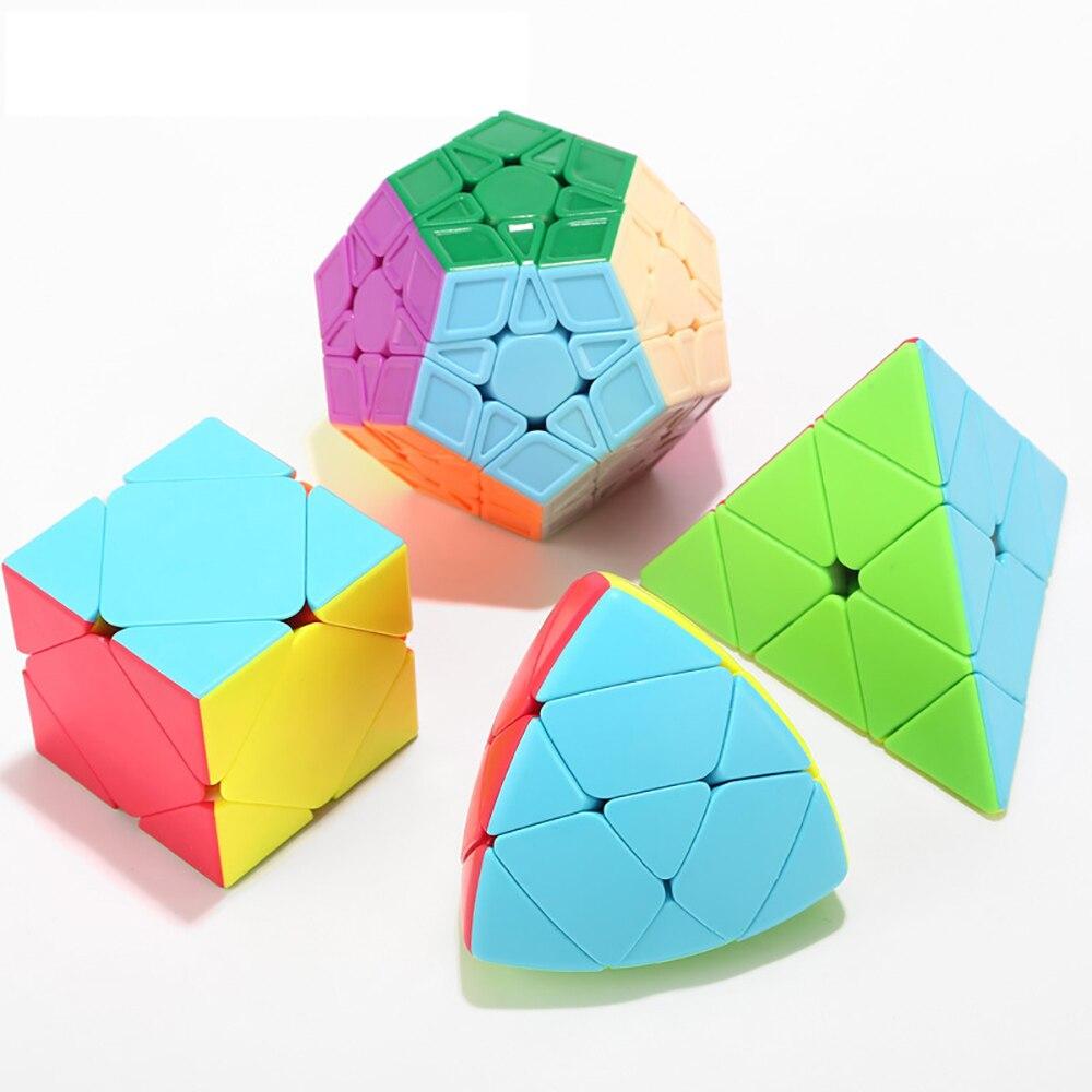 4 pièces/ensemble 3x3x3 Cube magique cadeau boîte emballage brochette pyramide Megaminx professionnel vitesse magique Cubes jouets éducatifs pour les enfants