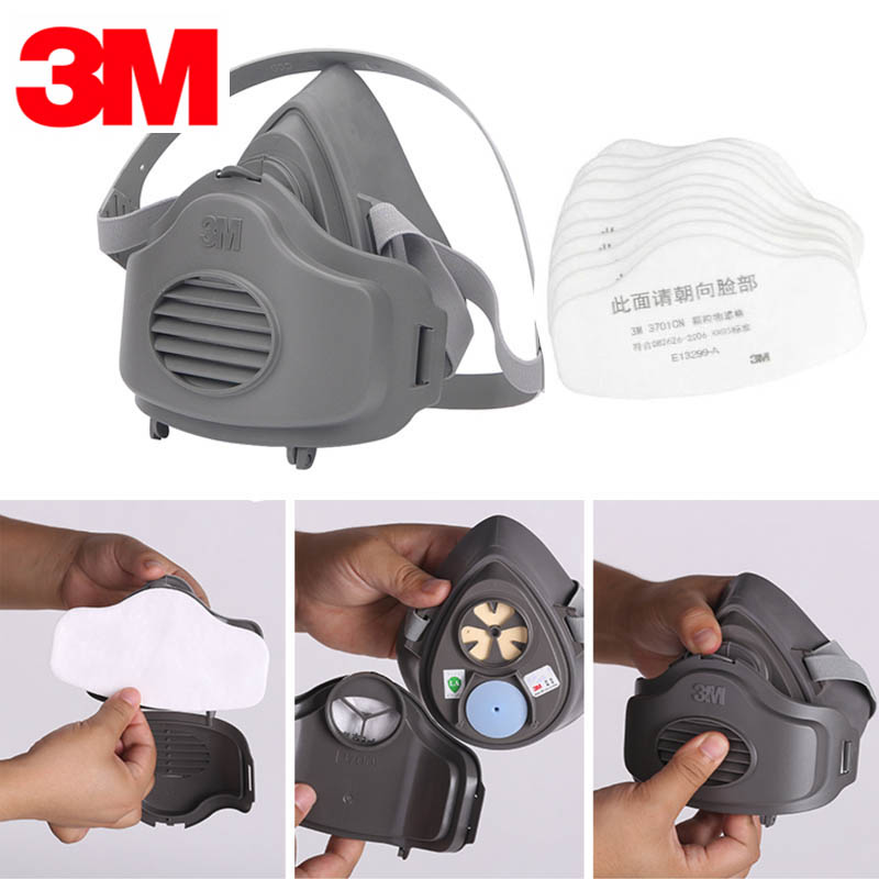 3M 3200 Respirator Painting Spraying Dust Gas Mask with holder and 20pcs 3701 filters 9 in 1 suit gas mask half face respirator painting spraying for 3 m 7502 n95 6001cn dust gas mask respirator