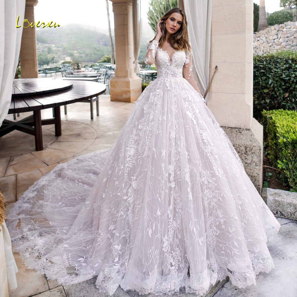 V Neck Beaded Wedding Gowns: Loverxu Luxury Long Sleeve Lace Princess Wedding Dresses