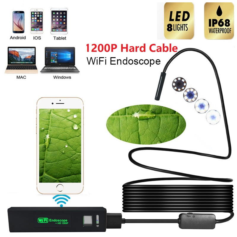 F150 HD 1200P Wifi Endoscope Camera 8.0mm With Waterproof Hard Cable IP68 Multi-purpose Adjustable 8 LED For Android For iosF150 HD 1200P Wifi Endoscope Camera 8.0mm With Waterproof Hard Cable IP68 Multi-purpose Adjustable 8 LED For Android For ios