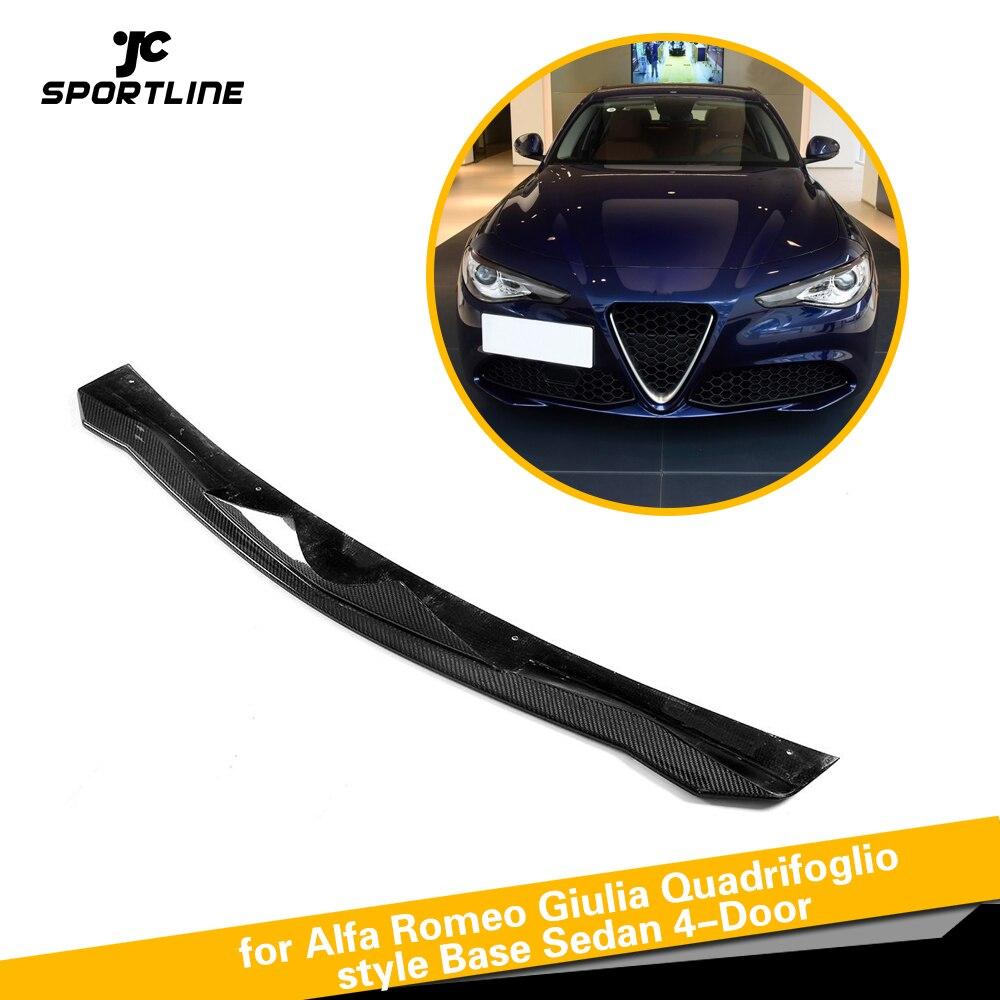 Fibre de carbone Avant lèvre de pare-chocs Chin Protecteur Tablier Répartiteurs pour Alfa Romeo Giulia Quadrifoglio Base Berline 4-Porte 2015- 2018