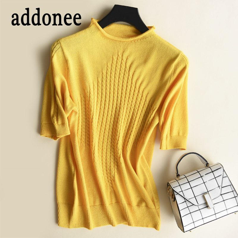 New Arrive Women O Neck Cashmere Pullovers Wool Wild Sweater Solid color Sexy Casual Autumn winter