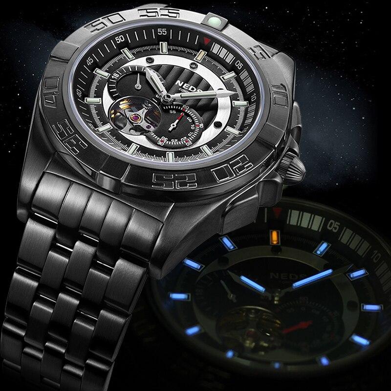 mens watches top brand NEDSS Skeleton Mechanical Watch tritium gas luminous Luxury Waterproof Military Watches Relogio Masculino