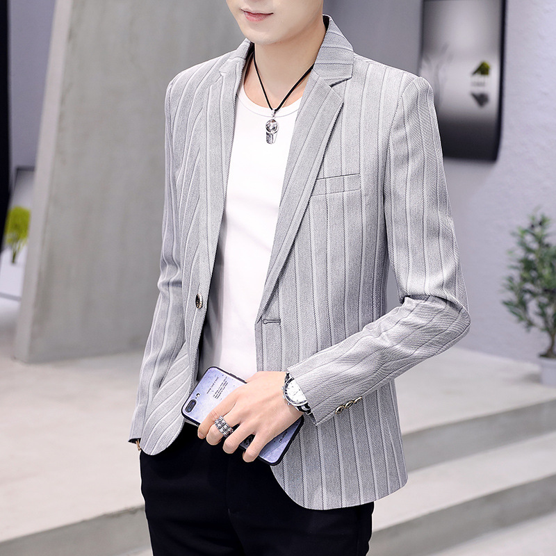 HO  Spring Of 2020 Small Suit Male Striped Suit Everyday Leisure Suit