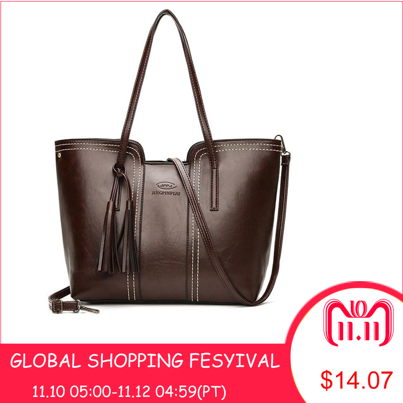 Women PU Leather Handbags Large Capacity Tassel Tote Bags Female Vintage Bag For Women Shoulder Bag Bolsos Mujer De Marca Famosa women pu leather handbags fashion women s top leather pure color shoulder with bag handbag bolsos mujer de marca famosa 2018