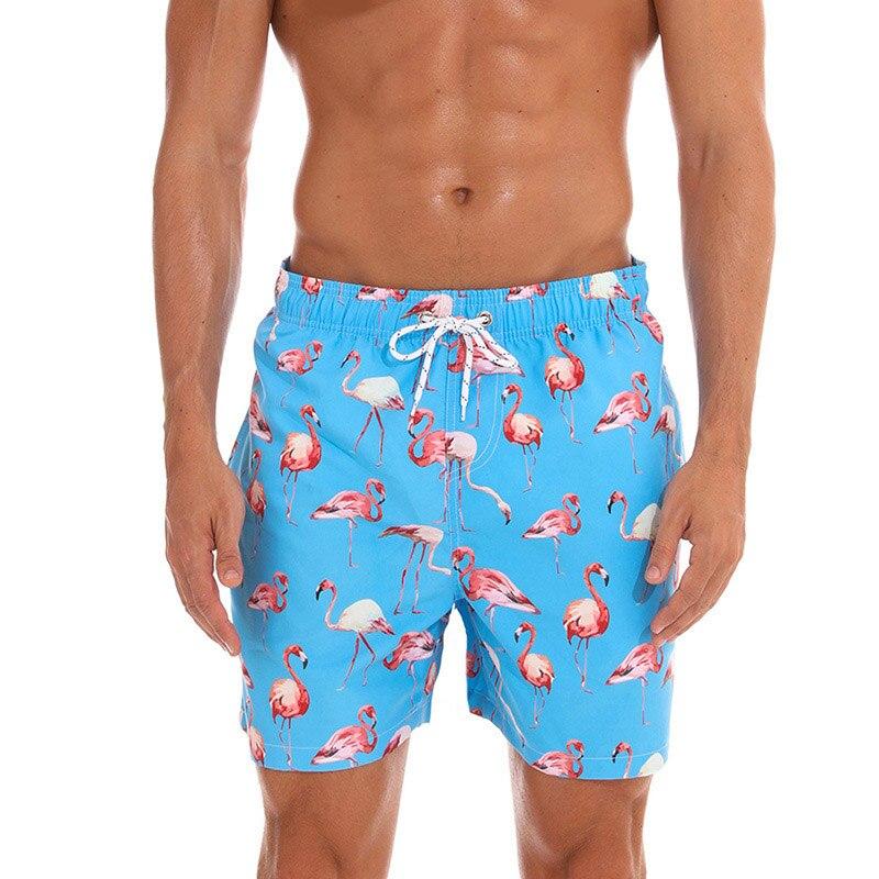 board     shorts   men fashion flamingo animal flowers print beach   shorts   quick dry swimwear bermuda masculino casual   shorts   men M-3XL