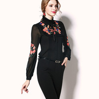 High End Women Satin Blouse Shirt 2019 Women New Vintage Long Sleeve Tie Embroidery Court style Silk Blouses Shirts Women Top