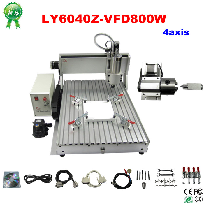 Russia no tax 4 axis cnc engraving and milling machine 6040Z-S 4axis 800W 3d cnc wood carving machine for PCB stone metal no tax to russia cnc 5 axis t chuck type include a aixs