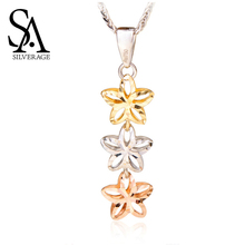 SA SILVERAGE Rose Platinum Yellow Gold Pendant Necklaces 18K Woman 2019 Chain Real Jewelry
