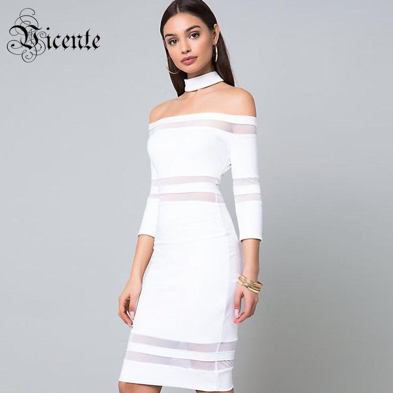 Mini Mesh Bandage Outre Gros Vicente Longues Manches Nouveau De Style Robe Chaude En Blanc Élégant Célébrité Sexy Patchwork L'épaule 2019 w8qZPTwxR