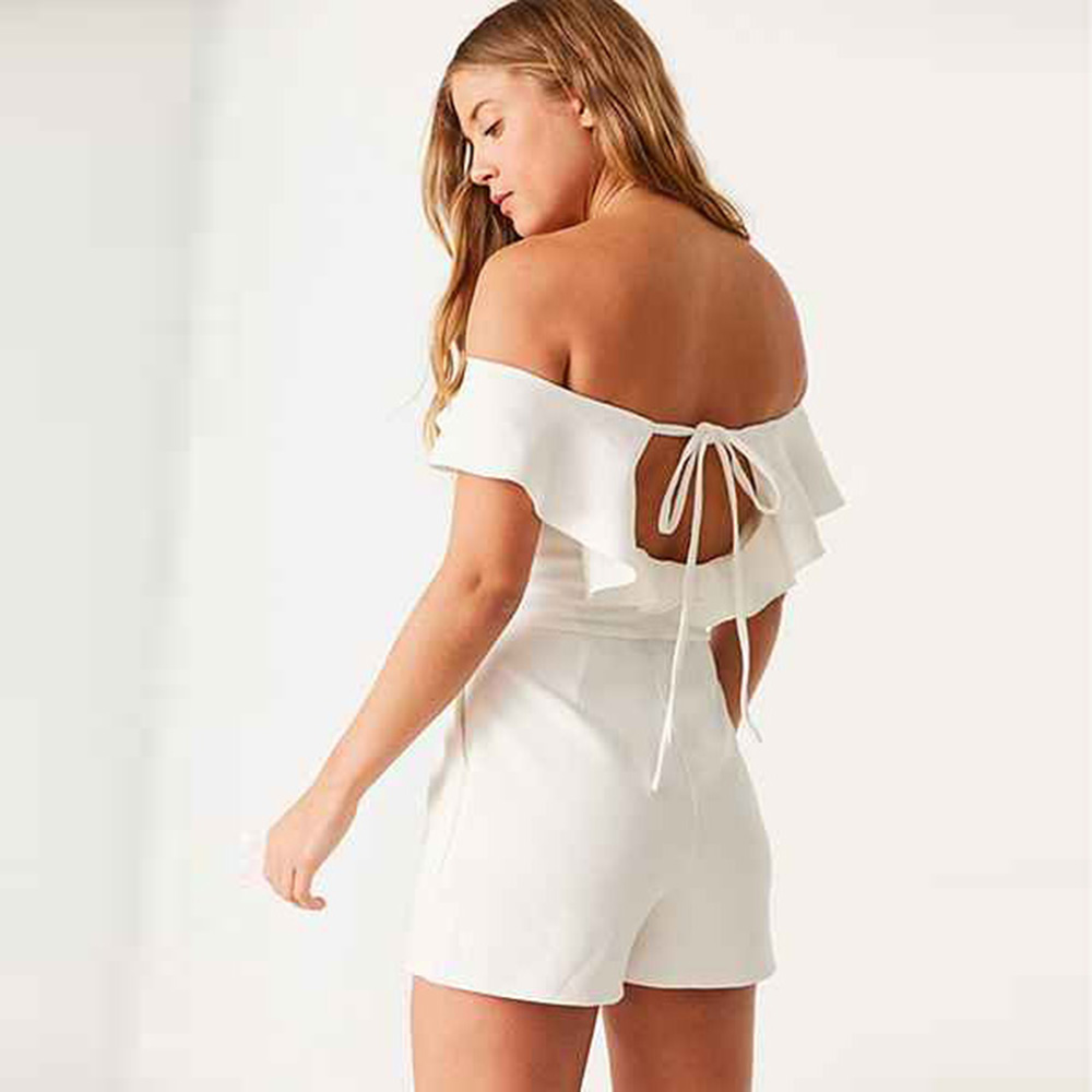 7832d05c21 IRISIE Apparel White Slash Neck Frill Female Jumpsuit Romper Casual Slim  Ruffle Off Shoulder Playsuit Backless Summer Romper-in Rompers from Women s  ...