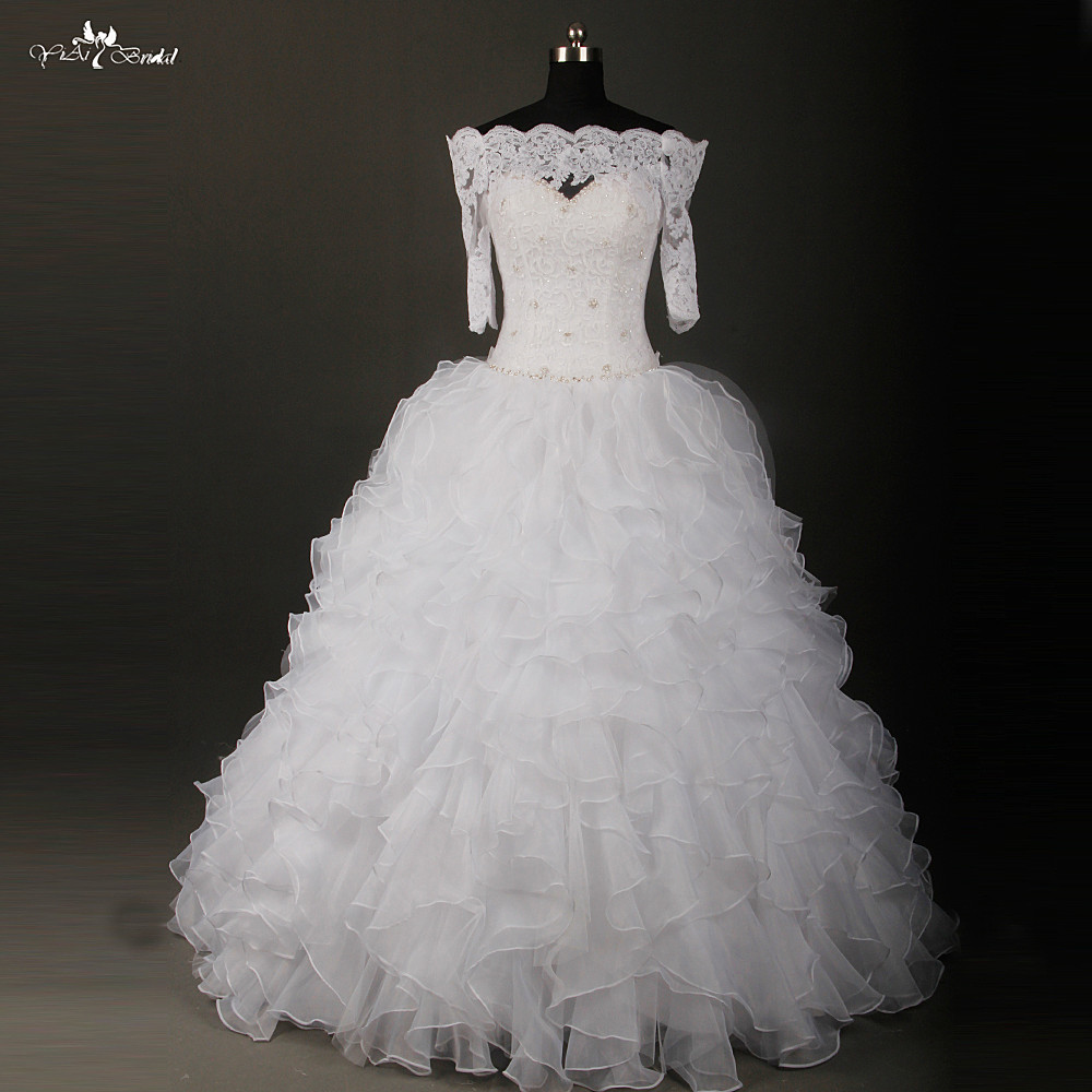 Aliexpress Rsw805 Venice Lace Flounced Ball Gown Free Off The Shoulders Jacket Bridal Gowns Floor Length From Reliable Suppliers On