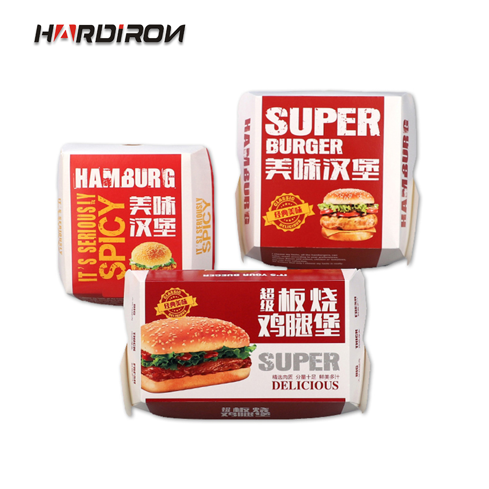 HARDIRON 100PCS Disposable Burger Free Folding Box Fried Chicken Country Fries Oil-proof Packaging Box Can Be Customized LOGO