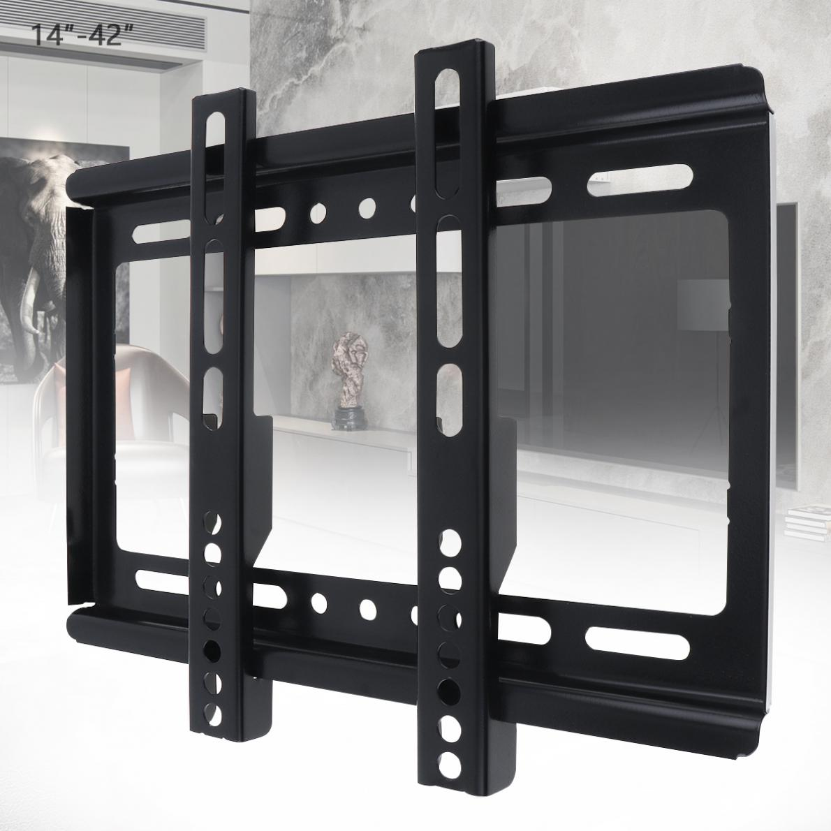 Universal Thin 25KG 14 - 42 Inch TV Wall Mount Bracket Flat Panel TV Frame with Gradienter for LCD LED Monitor Flat Pan