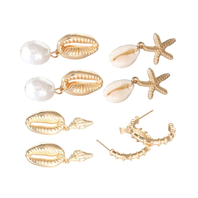 4 Pair Assorted Summer Conch Shell Pearl Drop Earrings Kit Beach Fashion Jewelry in Drop Earrings from Jewelry Accessories