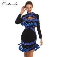 Роскошные модные платья для женщин 2016 новое поступление голубой жемчуг Для женщин с длинным рукавом, в стиле Звезд Бандажное платье HL оптом