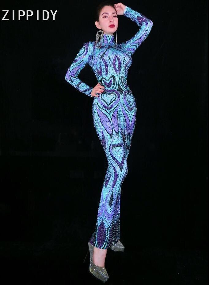 フル紫、青ラインストーンロングドレス女性の誕生日祝うドレスウェディングパーティー服女性歌手イブニングドレス  グループ上の ノベルティ & 特殊用途 からの 中国の民族舞踊 の中 1