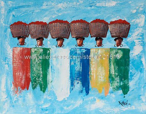 Buy tomato ladies african fine art for Buy mural paintings online