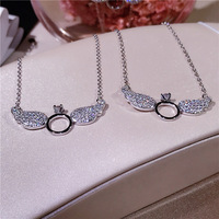 Korean version of the new micro angel wings necklace S925 pure silver trend with women's collarbone chain silver ornaments