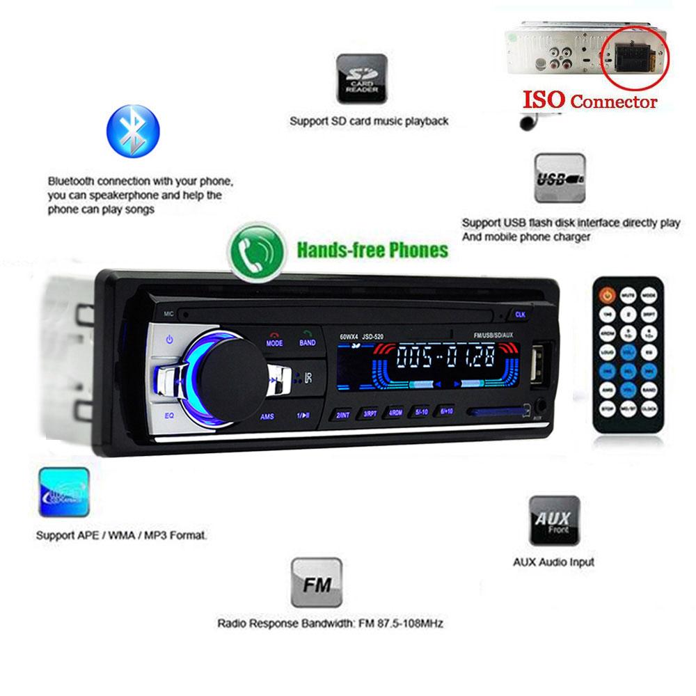Prix pour Bluetooth V2.0 JSD-520 Stéréo Autoradio De Voiture Radio 12 V Au tableau de bord 1 Din FM Entrée Aux Récepteur SD USB MP3 MMC WMA Voiture audio lecteur