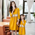 Mother Daughter Matching Clothes Spring 2017 long Sleeve Family Look Mother Daughter Dresses Family Matching Clothing Outfits