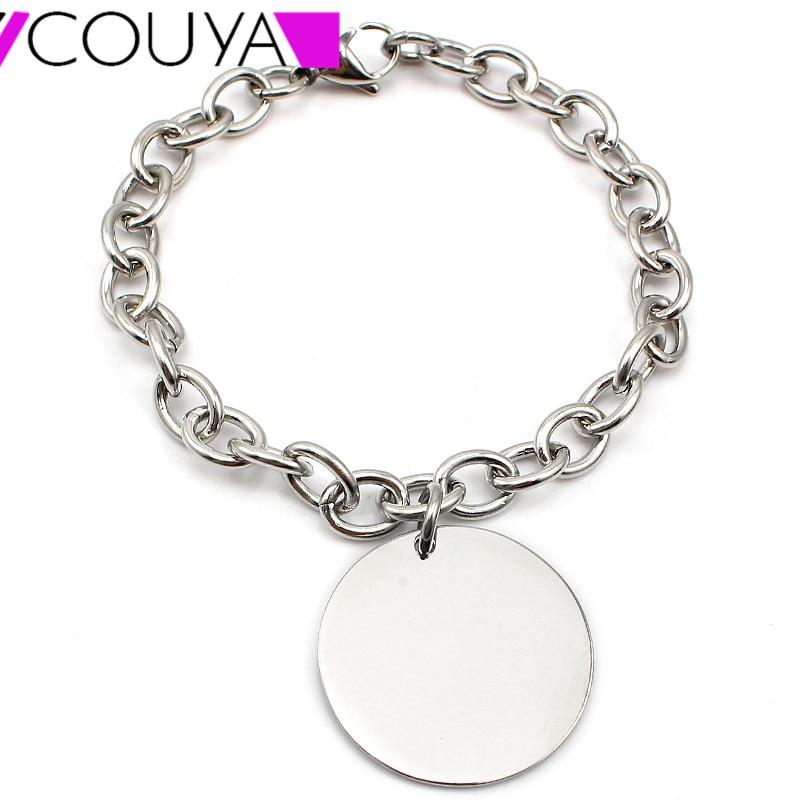 Klassische trendige Edelstahl Round Tag Charm Armbänder für Frauen Silber Armband Femme Casual Chain Armbänder Armreifen Bijoux