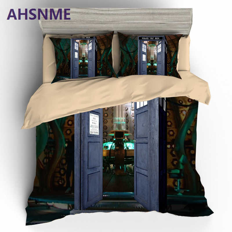 AHSNME High Definition Sci-fi Doctor Who King Queen Twin Sing Bedding Set High quality bed sets do not fade the duvet cover
