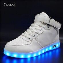7 ipupas белые высокого верха легкая детская обувь с подсветкой кроссовки унисекс для мальчиков и девочек USB зарядка красочные студент светящиеся кроссовки